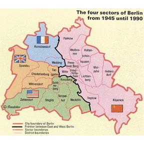 Map - The four sectors of Berlin from 1945 to 1990