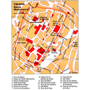 Map - Cáceres - Barrio Monumental