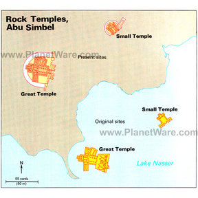 Map - Relocation site of Rock Temples at Abu Simbel