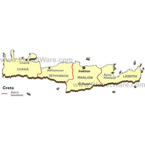 Map - Crete - district boundaries