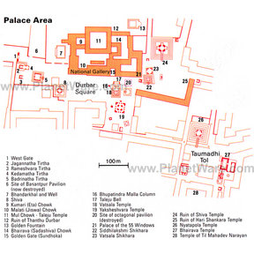 Map - Durbar Square Palace Area, Bhaktapur, Kathmandu Valley