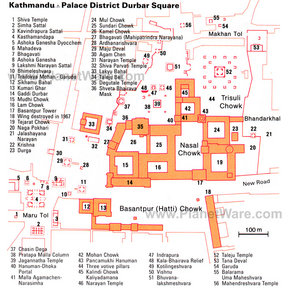 Map - Durbar Square Palace District, Kathmandu