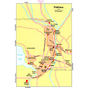 Map - Pokhara, Central Nepal