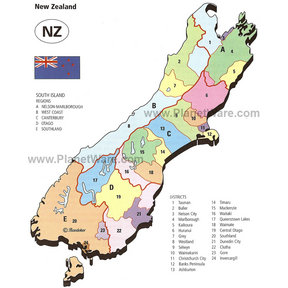 Map - New Zealand - South Island Regions and Districts