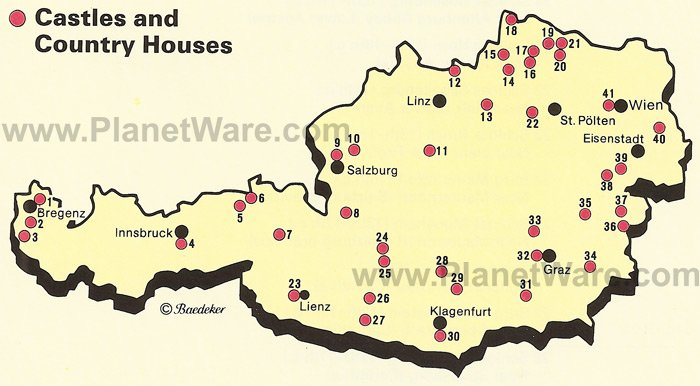 Map of Castles and Country Houses in Austria – Austria Tourist Attractions Map