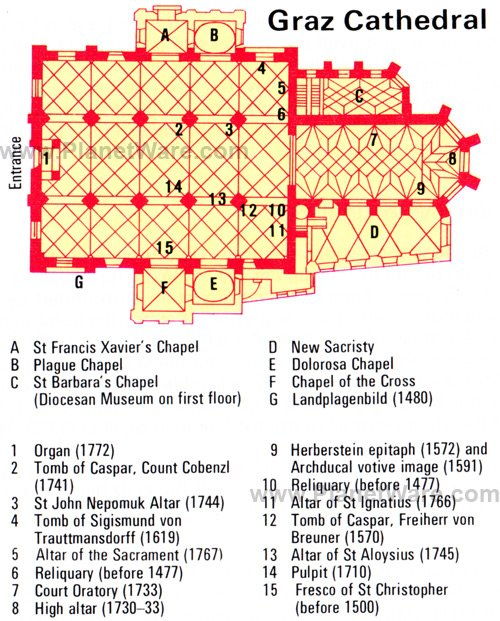 Graz Cathedral - Floor plan map
