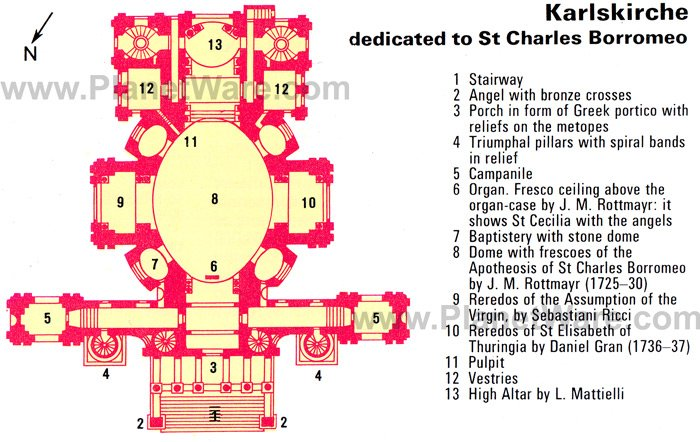 Karlskirche dedicated to St Charles Borromeo - Floor plan map