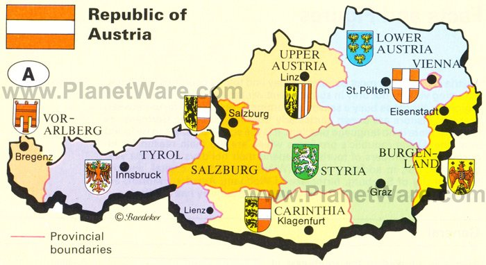 Map of republic of austria planetware republic of austria map gumiabroncs Choice Image