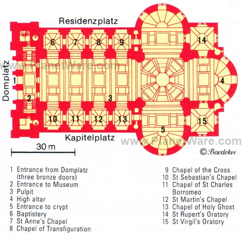 Salzburg Cathedral - Floor plan map