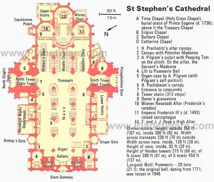 St Stephen's Cathedral - Floor plan map