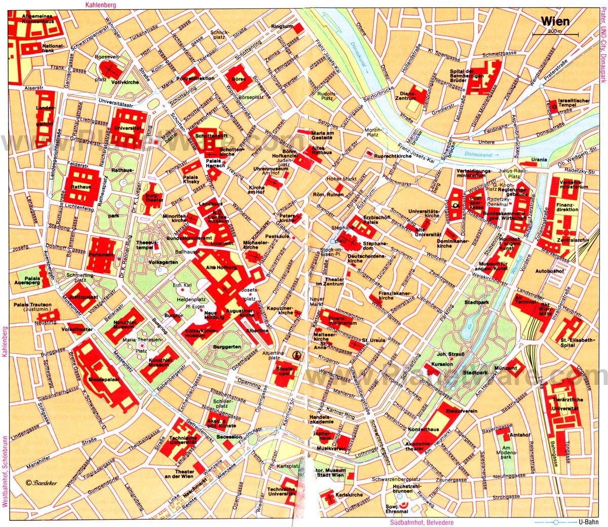 Mapa de Viena - Atracciones turísticas