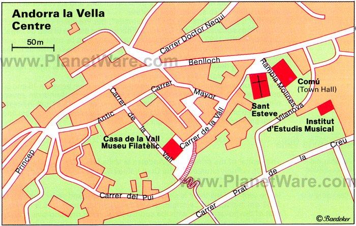 Andorra la Vella Center Map - Tourist Attractions