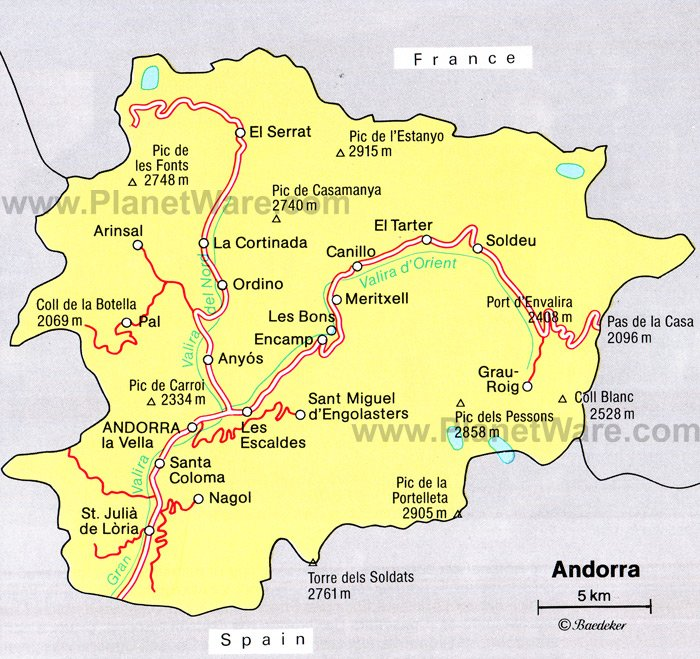 map of france and spain with cities. Andorra Map