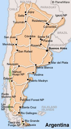 Argentina Travel Guide PlanetWare - Argentina travel map