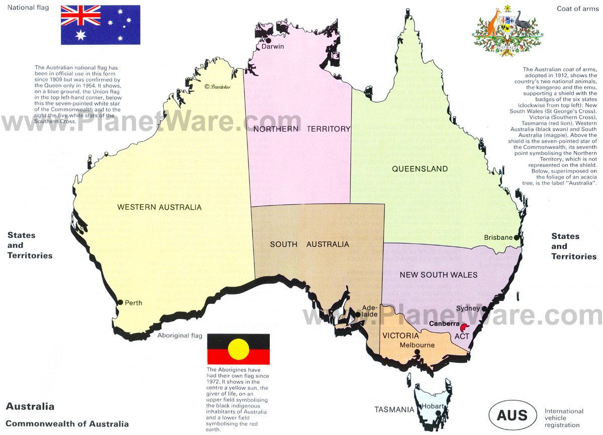 Australia Map Landmarks.Map Of Australia States And Territories Planetware