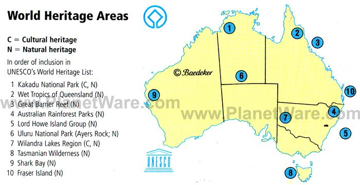 Map Of Australia World Heritage Areas PlanetWare - Australia in world map