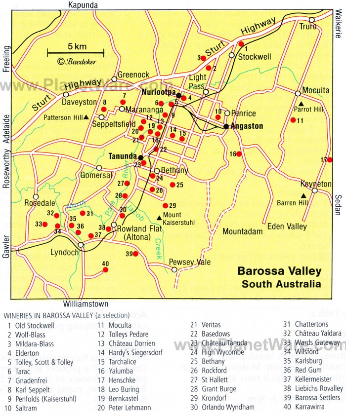 Barossa Valley Map - Tourist Attractions