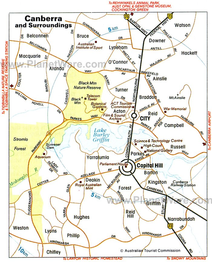 Canberra and Surroundings Map - Tourist Attractions