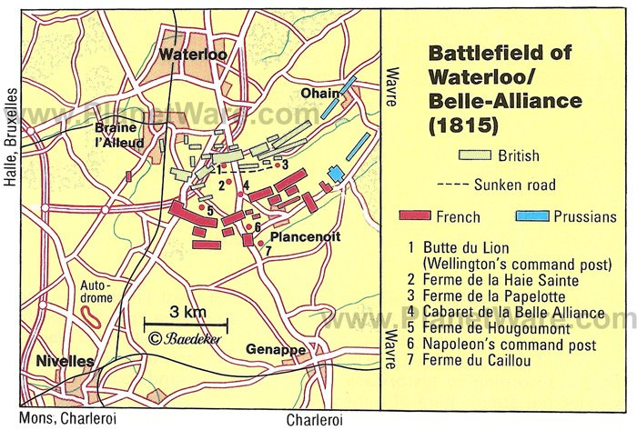 Battlefield of Waterloo (1815) Map - Tourist Attractions