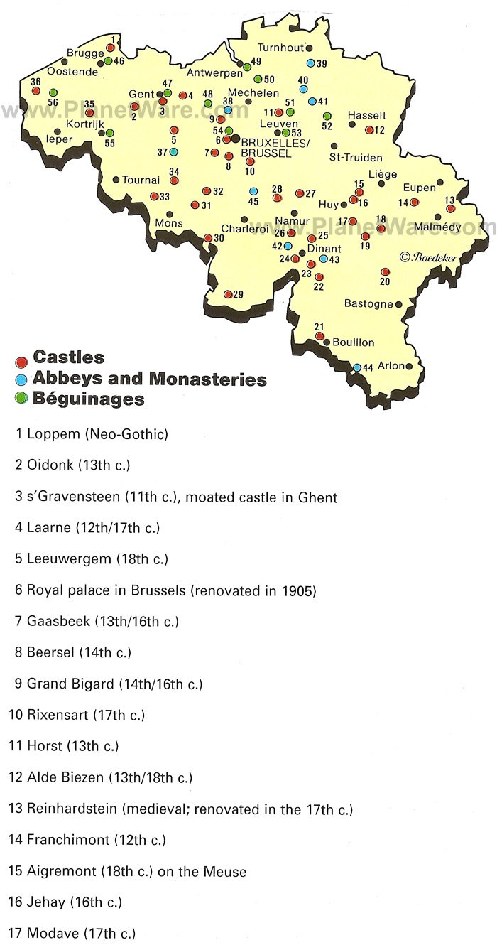 Map of Belgium Castles and Monasteries PlanetWare