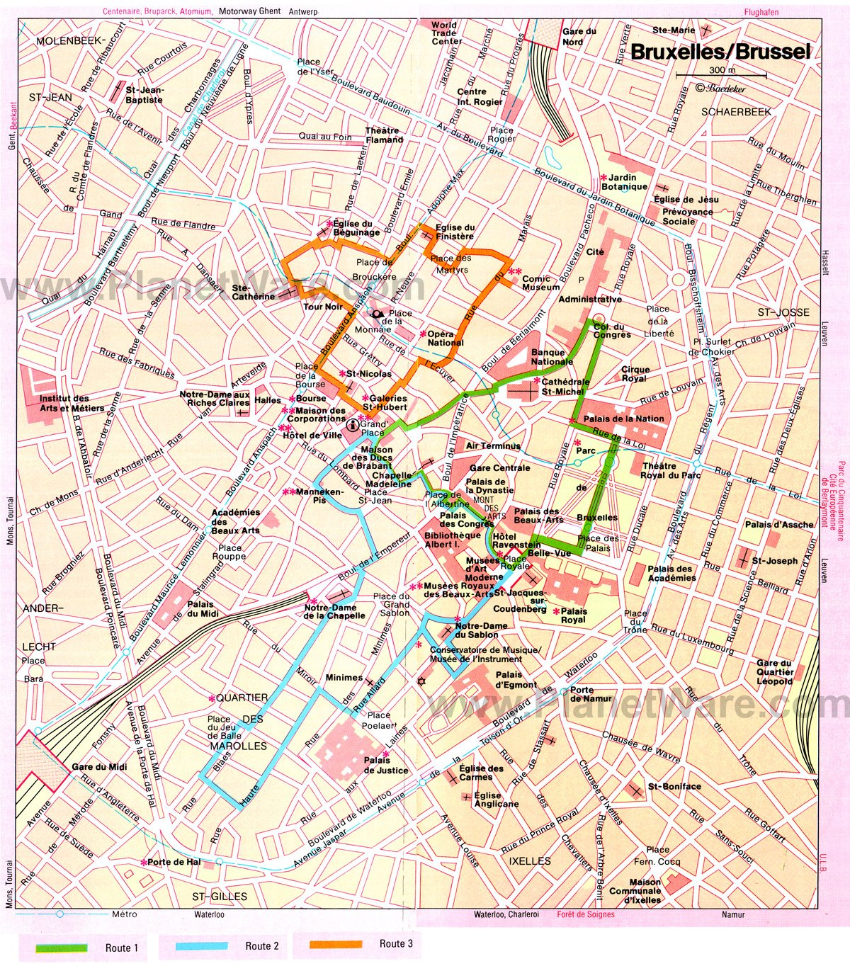 Brussels Walking Tours Map - Tourist Attractions