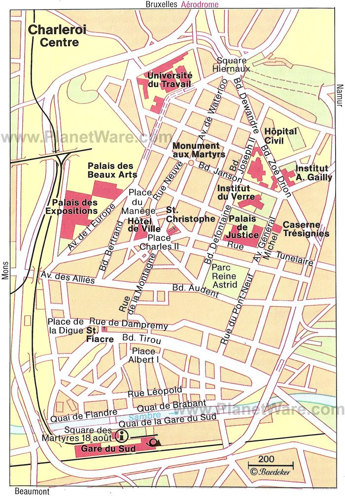 Charleroi Center Map - Tourist Attractions