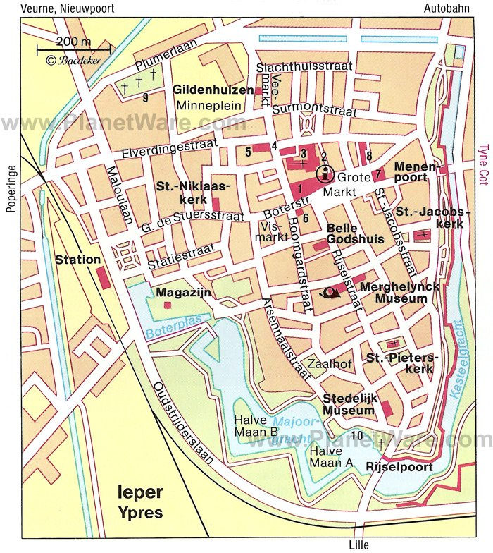 Some attractions within Ypres Map: