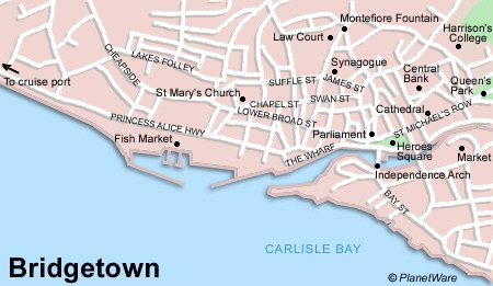 Bridgetown Map - Tourist Attractions
