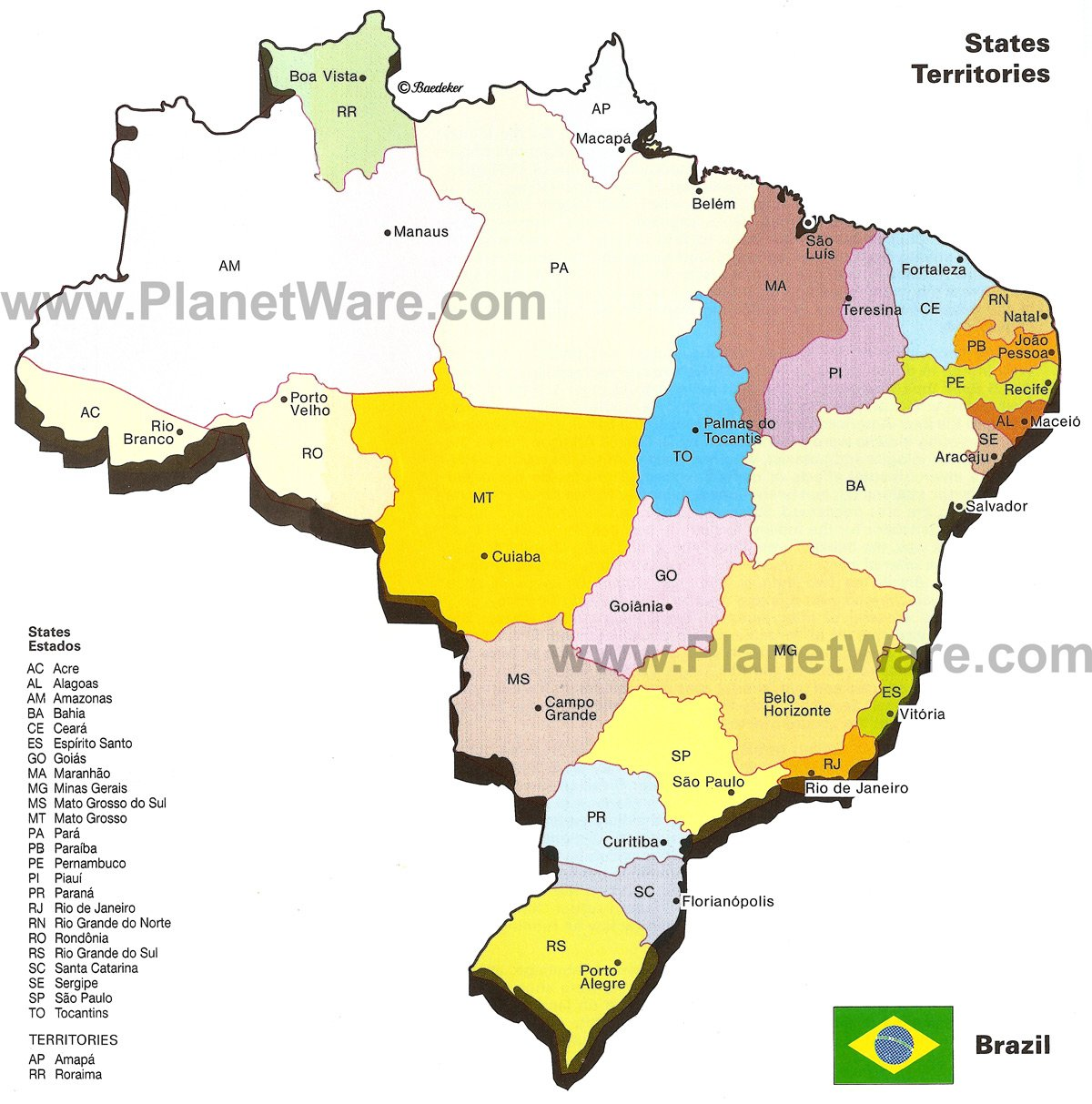 Map Of Brazil States Major Citites PlanetWare - Brazil states map