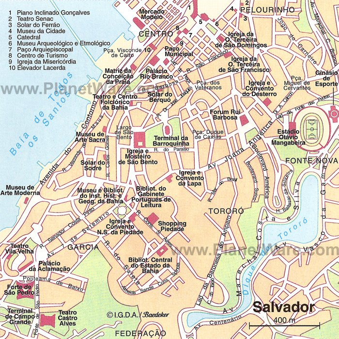 Salvador Map - Tourist Attractions