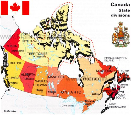 map of canada and usa with cities. Canada is a land of diversity