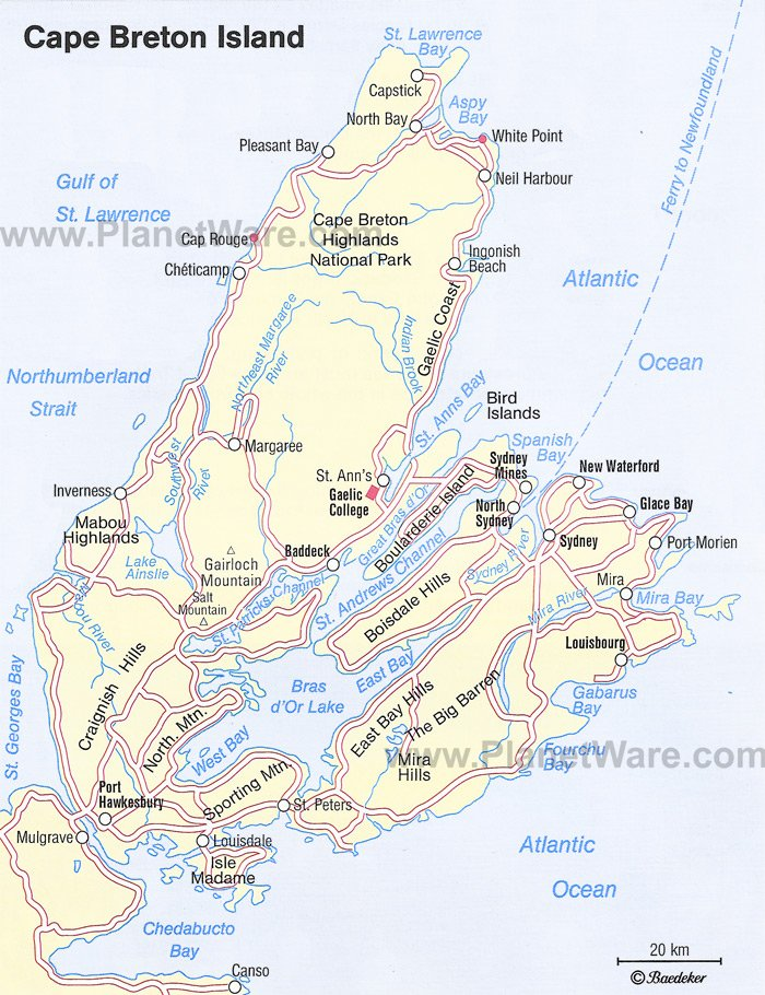 Cape Breton Island Map - Tourist Attractions