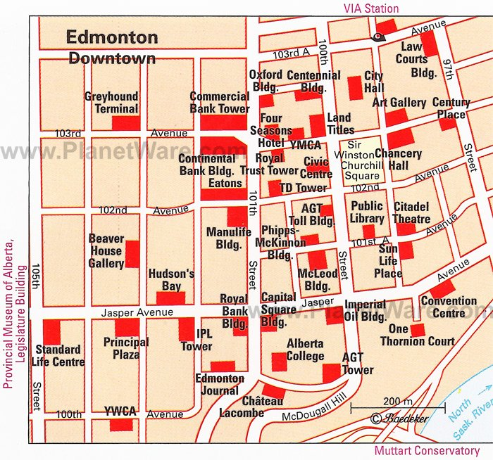 Edmonton (Downtown) Map - Tourist Attractions