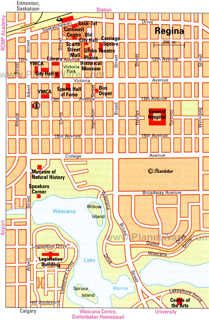 Regina Map - Tourist Attractions