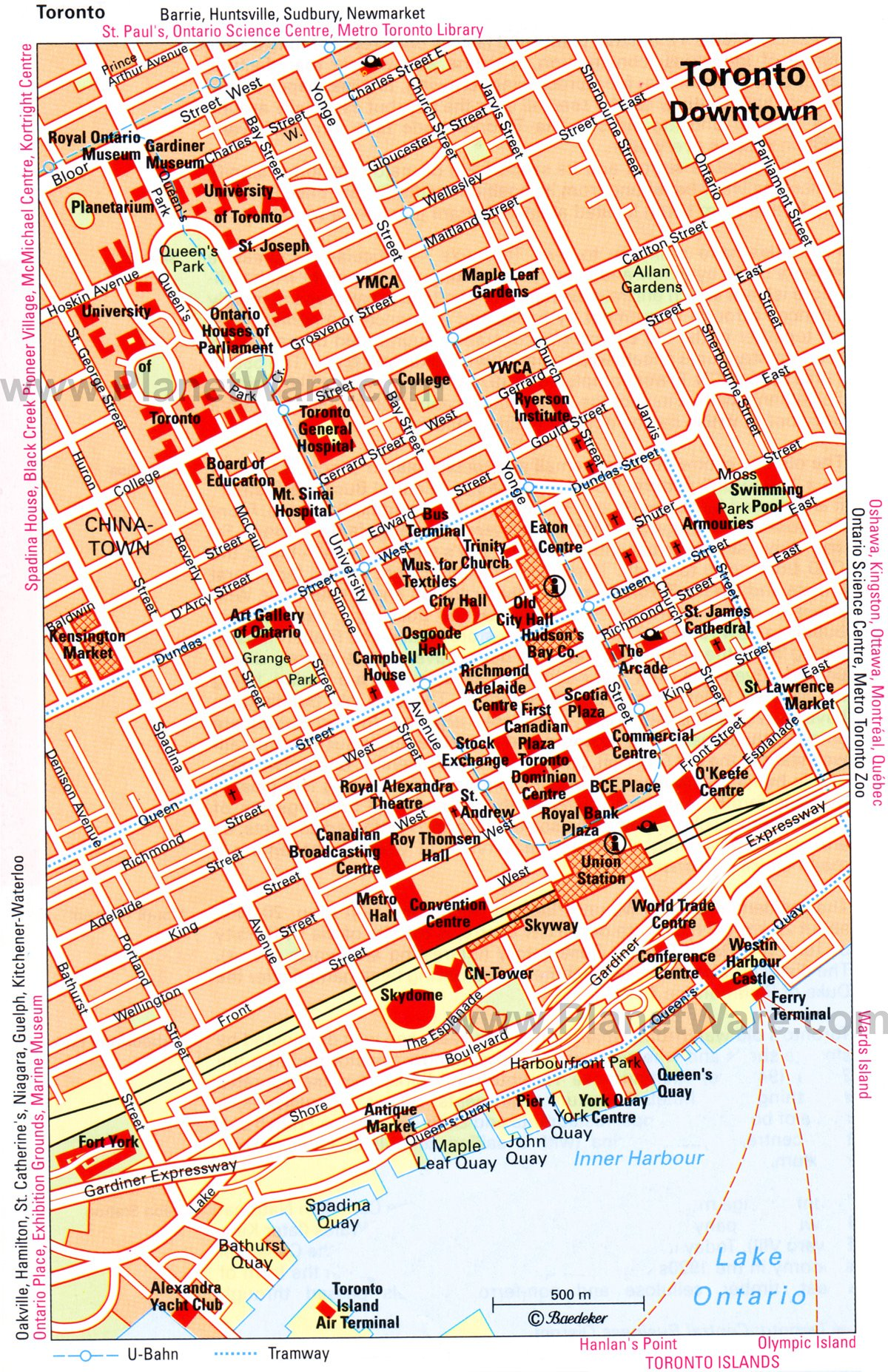 Toronto Downtown Map Tourist Attractions