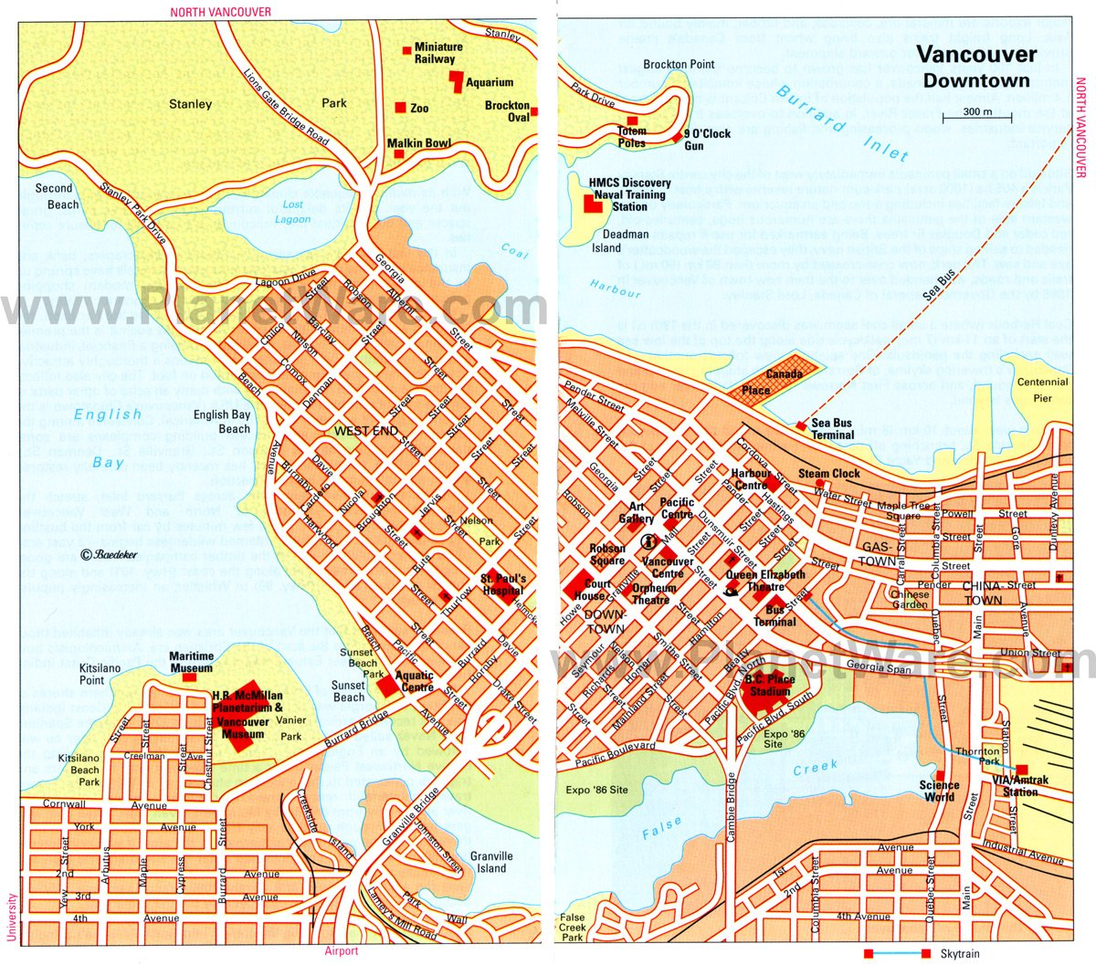 Vancouver Map - Tourist Attractions