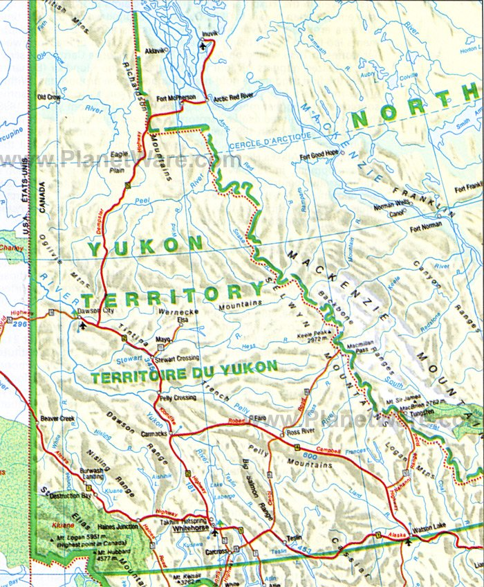 Yukon Territory (detailed) Map