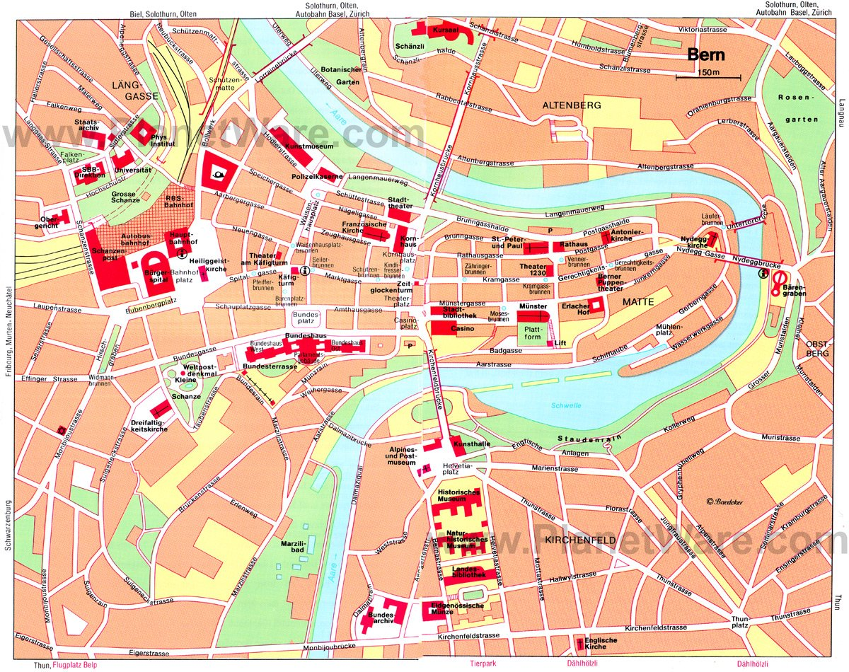 14 Top Tourist Attractions in Bern & Easy Day Trips | PlanetWare Bern Map