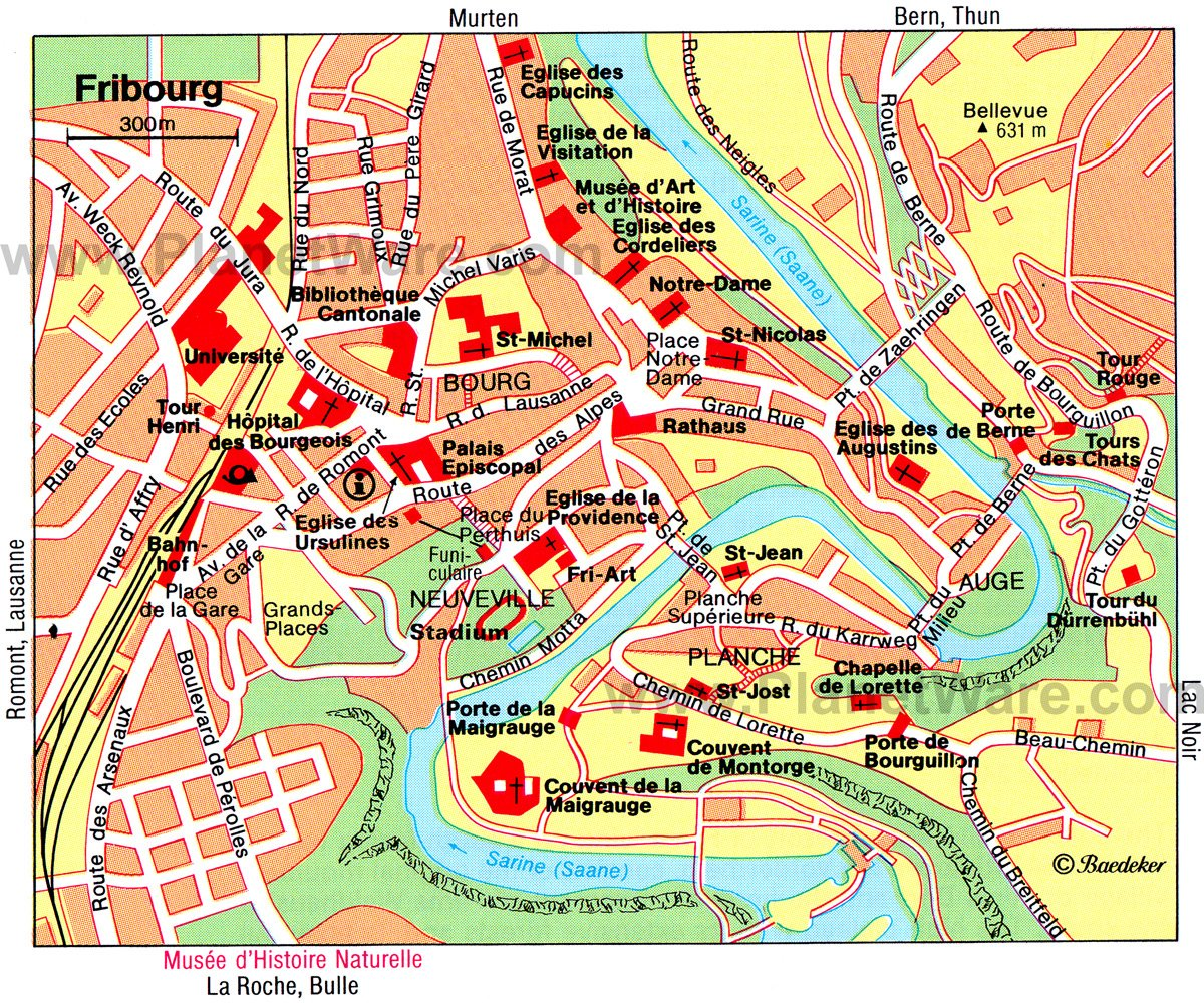 Fribourg Map - Tourist Attractions