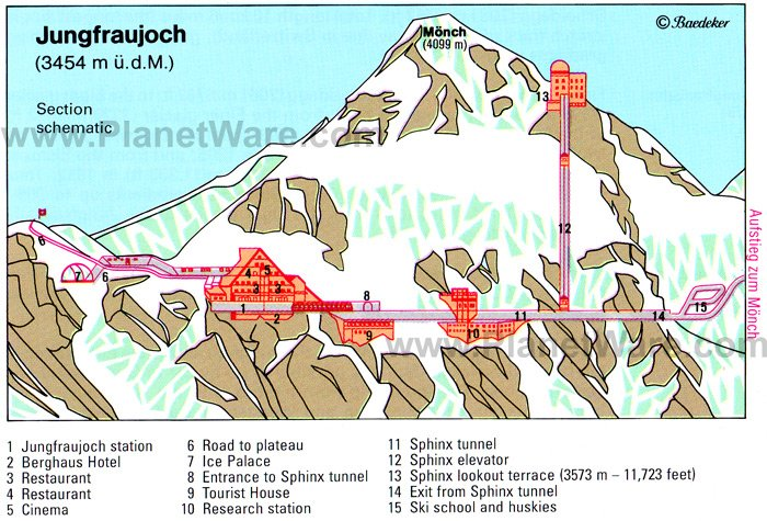 Jungfruajoch - Section map