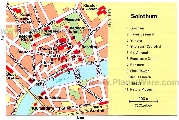 Solothurn Map - Tourist Attractions