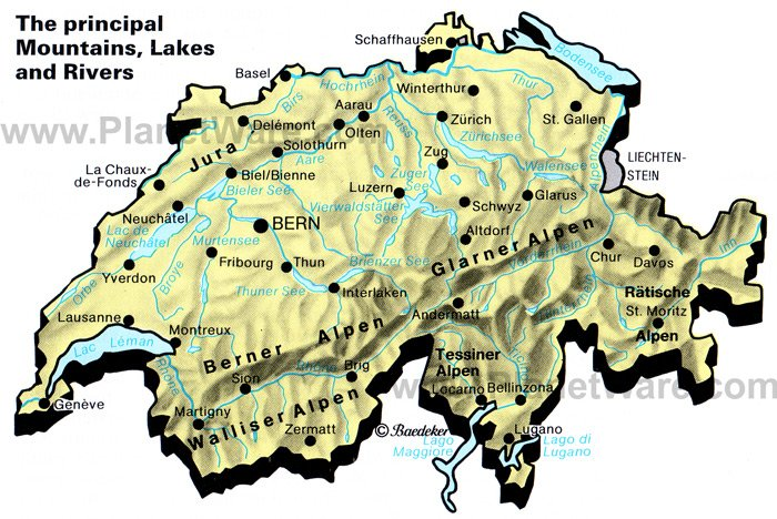 Map of Switzerland Mountains lakes and rivers PlanetWare