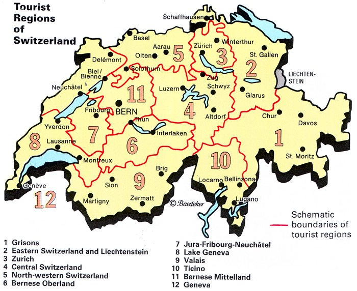 Map of Tourist Regions of Switzerland PlanetWare