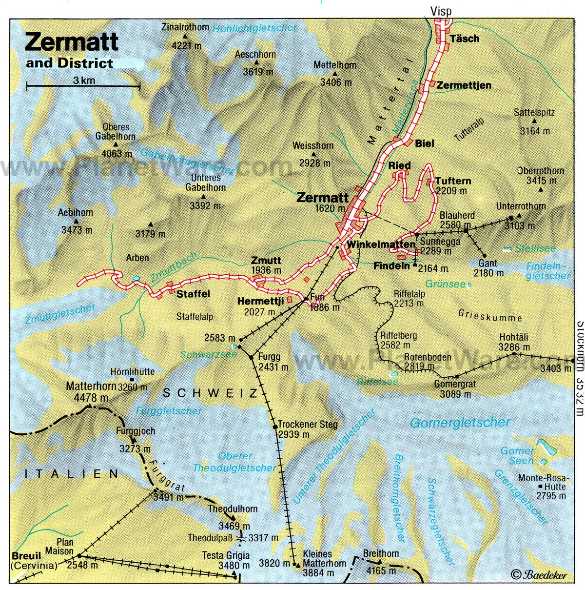 Zermatt and District Map - Tourist Attractions