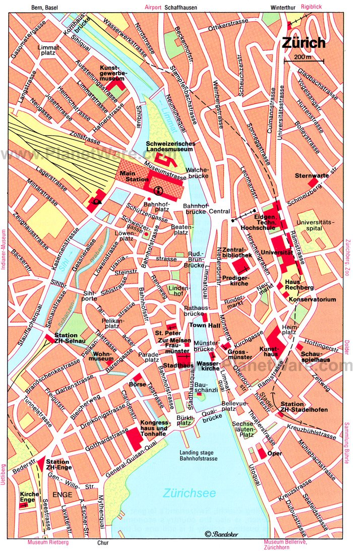 Zürich Map - Tourist Attractions