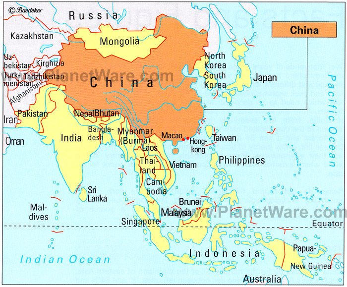 Map of China Neighbouring Countries PlanetWare