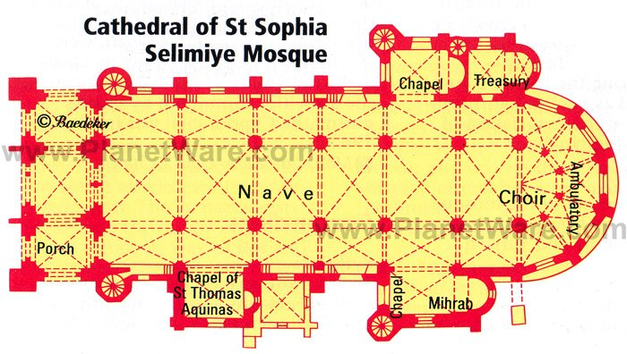Cathedral of St. Sophia (Selimiye Mosque) - Floor plan map