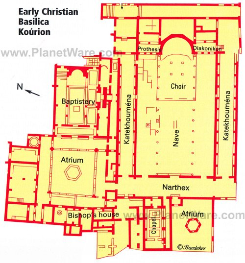 Early Christian Basilica Kourion - Floor plan map