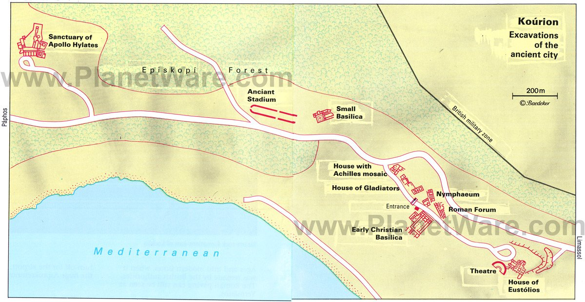 Kourion Excavation - Site map