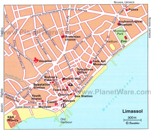 Limassol Map - Tourist Attractions
